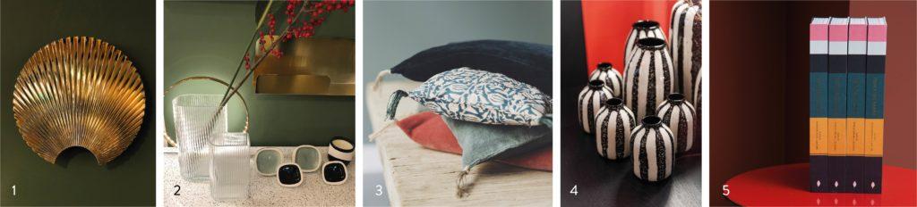 1. Patère Concha Aytm 2. Vase 2. Vase Hk Living & Patères Sicilia Maison Sarah Lavoine 3. Coussin Noyaux de cerise Caravane 4. Vase Riviera Maison Sarah Lavoine 5. Livre Maison Sarah Lavoine